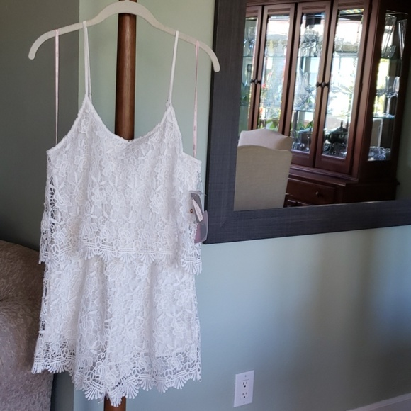 Forever 21 Pants - NWT White Lace Romper!
